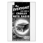 Retro Vintage Kitsch Crosley Car Radio Ad Greeting Card