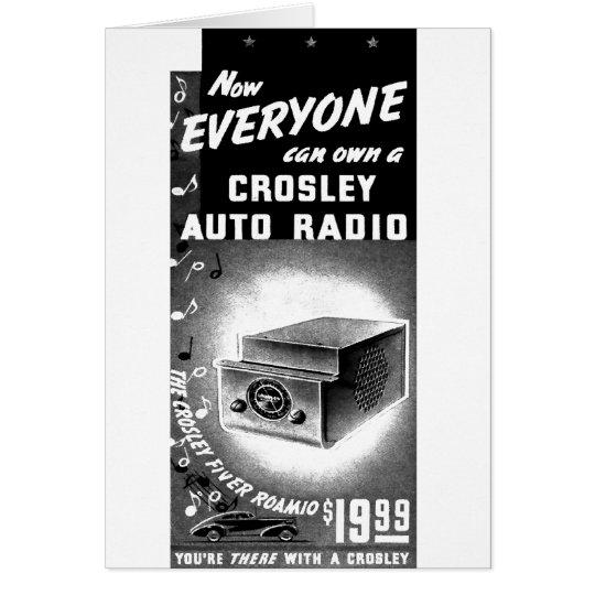 Retro Vintage Kitsch Crosley Car Radio Ad Card
