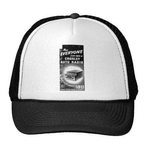 Retro Vintage Kitsch Crosley Car Radio Ad Mesh Hats