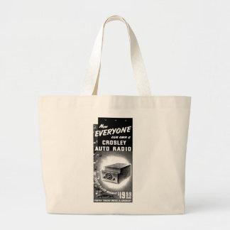Retro Vintage Kitsch Crosley Car Radio Ad Large Tote Bag