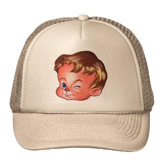 Retro Vintage Kitsch Cute Ad Kid 'Winkie' Trucker Hats