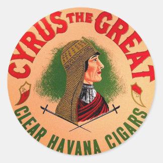 Retro Vintage Kitsch Cyrus The Great Cigar Label Classic Round Sticker