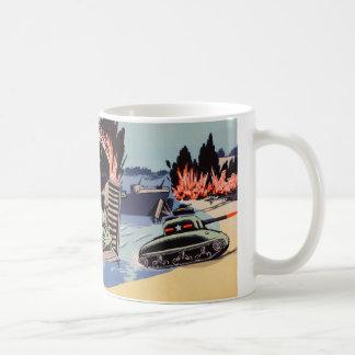 Retro Vintage Kitsch D-Day Tanks on The Beach Coffee Mug
