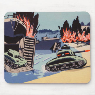 Retro Vintage Kitsch D-Day Tanks on The Beach Mouse Pad