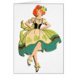 Retro Vintage Kitsch Dancing  Irish Lass Girl Card