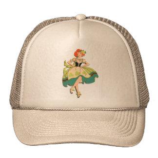 Retro Vintage Kitsch Dancing  Irish Lass Girl Trucker Hat