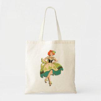 Retro Vintage Kitsch Dancing  Irish Lass Girl Tote Bag
