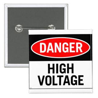 Retro Vintage Kitsch Danger High Voltage Sign Button