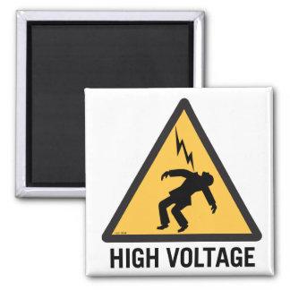 Retro Vintage Kitsch Danger High Voltage Sign 2 Inch Square Magnet