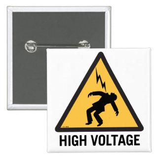 Retro Vintage Kitsch Danger High Voltage Sign Pinback Button