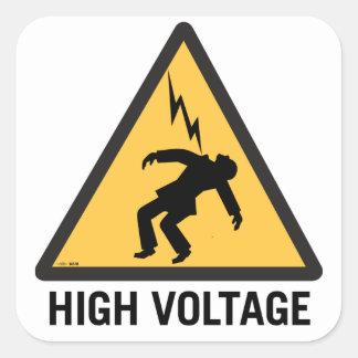 Retro Vintage Kitsch Danger High Voltage Sign Square Sticker