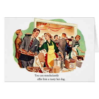 Retro Vintage Kitsch Dating 'Offer Him a Hot Dog' Card