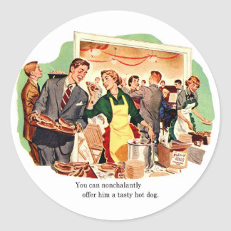 Retro Vintage Kitsch Dating 'Offer Him a Hot Dog' Classic Round Sticker