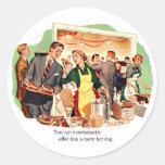 Retro Vintage Kitsch Dating 'Offer Him a Hot Dog' Round Sticker