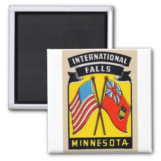 Retro Vintage Kitsch Decal International Falls MN 2 Inch Square Magnet