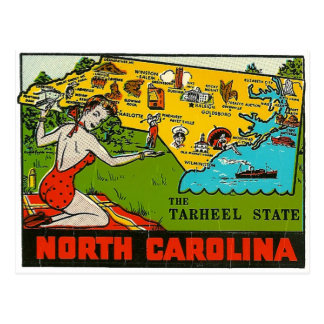 Retro Vintage Kitsch Decal North Carolina Pin Up Postcard