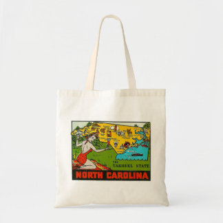 Retro Vintage Kitsch Decal North Carolina Pin Up Tote Bag