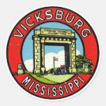 Retro Vintage Kitsch Decal Vicksburg Mississippi Classic Round Sticker