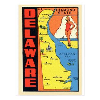 Retro Vintage Kitsch Delaware Diamond State Decal Postcard