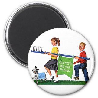Retro Vintage Kitsch Dentist Kids Giant Toothbrush 2 Inch Round Magnet