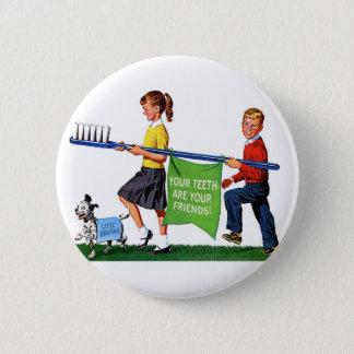 Retro Vintage Kitsch Dentist Kids Giant Toothbrush Button