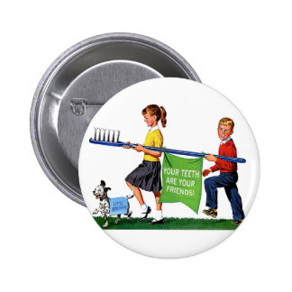 Retro Vintage Kitsch Dentist Kids Giant Toothbrush Button