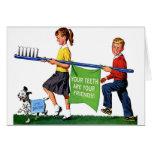 Retro Vintage Kitsch Dentist Kids Giant Toothbrush Cards