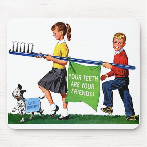 Retro Vintage Kitsch Dentist Kids Giant Toothbrush Mouse Pad