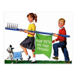 Retro Vintage Kitsch Dentist Kids Giant Toothbrush Postcard