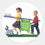 Retro Vintage Kitsch Dentist Kids Giant Toothbrush Sticker
