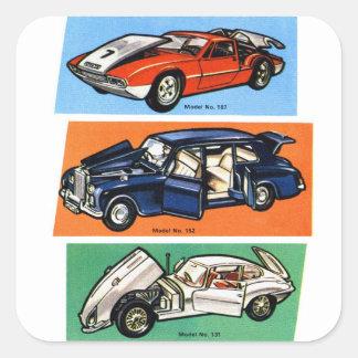 Retro Vintage Kitsch Diecast 60s Toy Cars Square Sticker