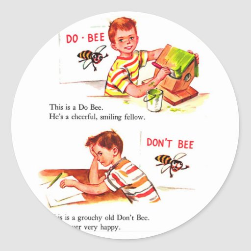 Retro Vintage Kitsch Do Bee & Don't Bee Stickers