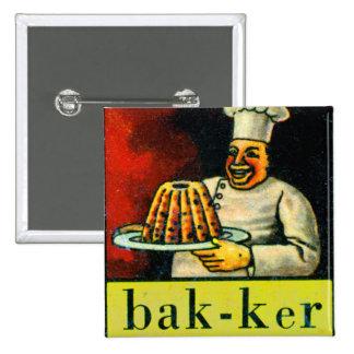 Retro Vintage Kitsch Dutch Alphabet bak-ker Baker Button