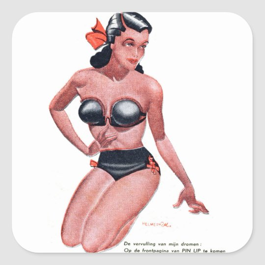 Retro Vintage Kitsch Dutch Pin Up Calender Girl Square Sticker