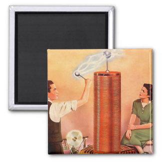 Retro Vintage Kitsch Electricity Tesla Coil 2 Inch Square Magnet