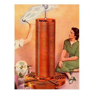 Retro Vintage Kitsch Electricity Tesla Coil Post Cards