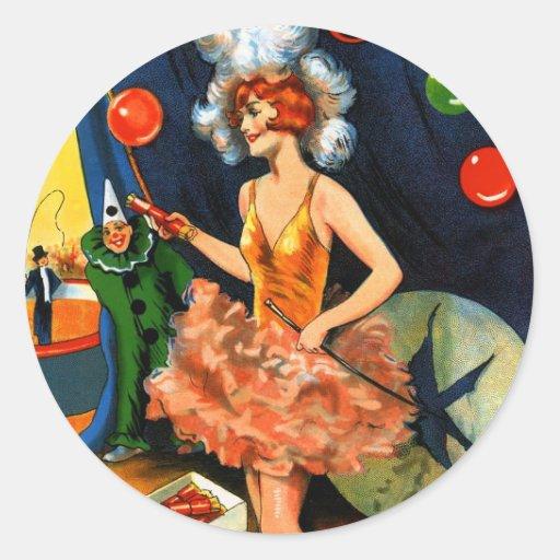 Retro Vintage Kitsch England Circus Crackers Classic Round Sticker
