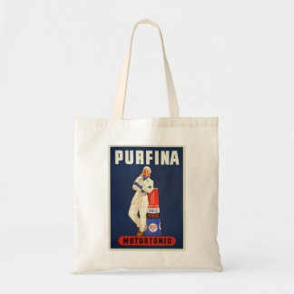 Retro Vintage Kitsch Europe Pufina Motor Oil Ad Tote Bags