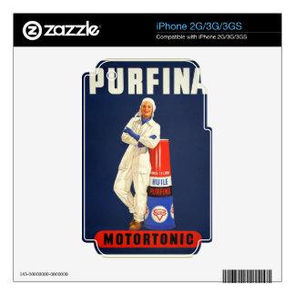Retro Vintage Kitsch Europe Pufina Motor Oil Ad iPhone 2G Decals