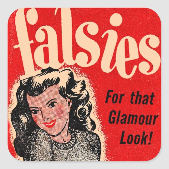 Retro Vintage Kitsch Falsies Square Sticker