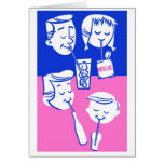 Retro Vintage Kitsch Family Drinking With Straws Greeting Card