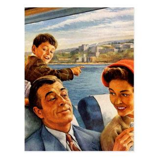Retro Vintage Kitsch 'Family Train Trip' Postcard