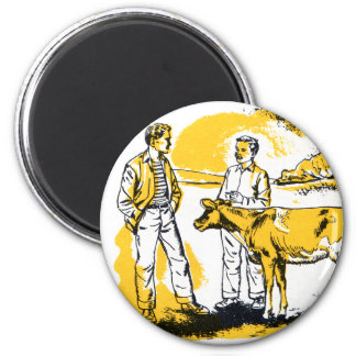 Retro Vintage Kitsch Farm Boys With Cow Magnet
