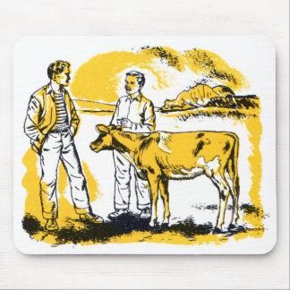 Retro Vintage Kitsch Farm Boys With Cow Mouse Pad