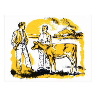 Retro Vintage Kitsch Farm Boys With Cow Postcard