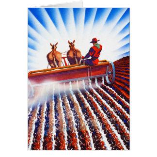 Retro Vintage Kitsch Farmer Fertilizer Poster Art Card