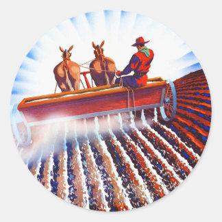Retro Vintage Kitsch Farmer Fertilizer Poster Art Classic Round Sticker