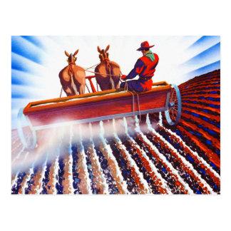 Retro Vintage Kitsch Farmer Fertilizer Poster Art Postcard