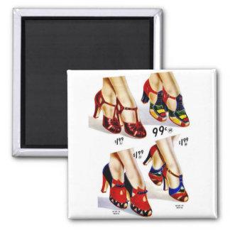 Retro Vintage Kitsch Fashion 40s Women's Shoes 2 Inch Square Magnet