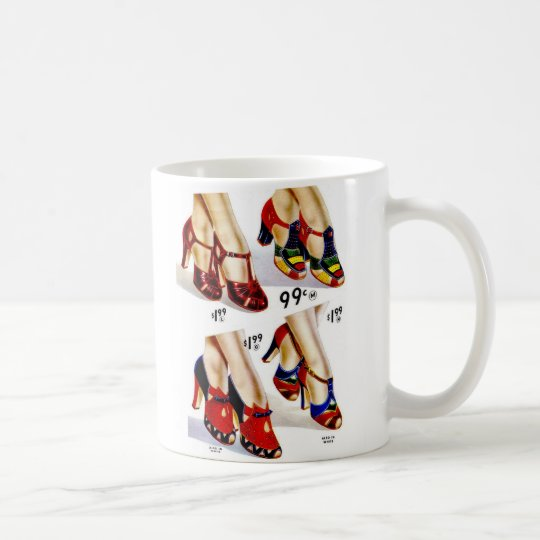 Retro Vintage Kitsch Fashion 40s Women's Shoes Coffee Mug